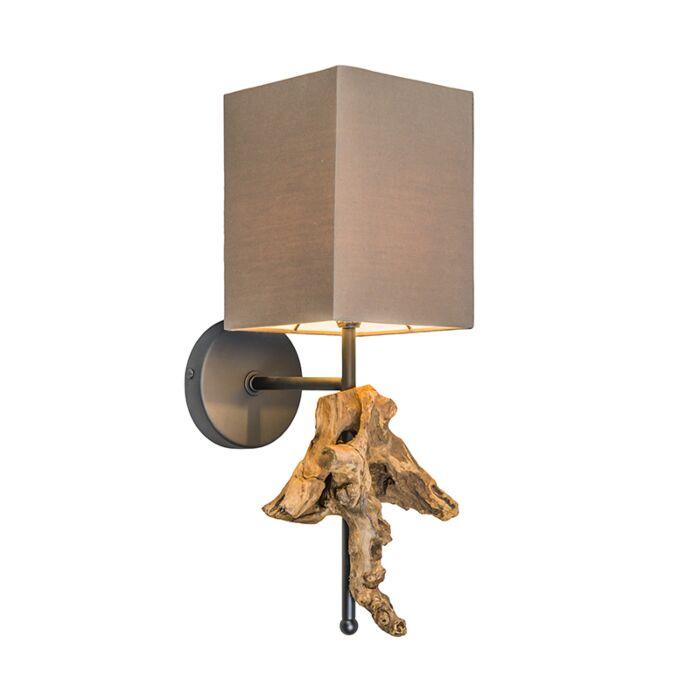 Applique-con-paralume-'Suchin'-rustico-caffè/tessuto---adatto-per-LED-/-interno