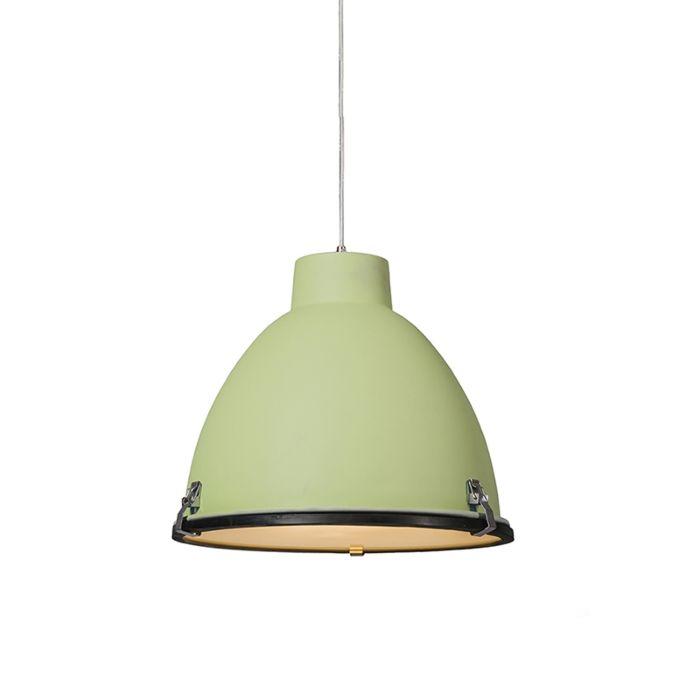Lampada-a-sospensione-'Anteros-38'-industriale-verde/alluminio---adatta-per-LED-/-interna