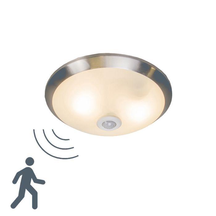 Plafoniera-con-sensore-'Motion-III'-moderna-acciaio/vetro---adatta-per-LED-/-interna