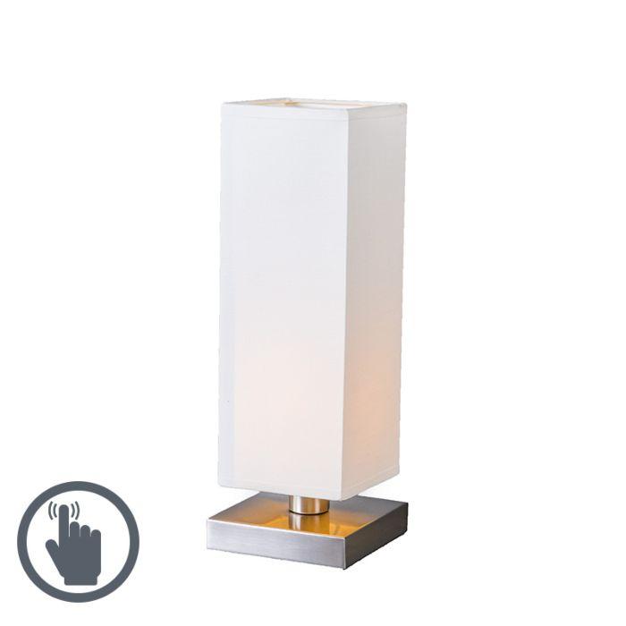 Lampada-da-tavolo-con-regolatore-'Tower-Touch'-moderna-blanca/tessuto-interna