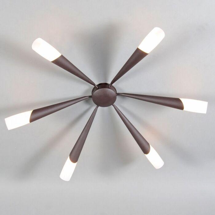 Plafoniera-grande-'Stream-6'-classico-marrone-ossido/metallo---adatta-per-LED-/-interna