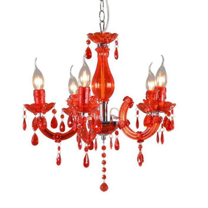 Lampadario-'Marie-Theresa-5'-moderno-rosso/cristallo---adatto-per-LED-/-interno