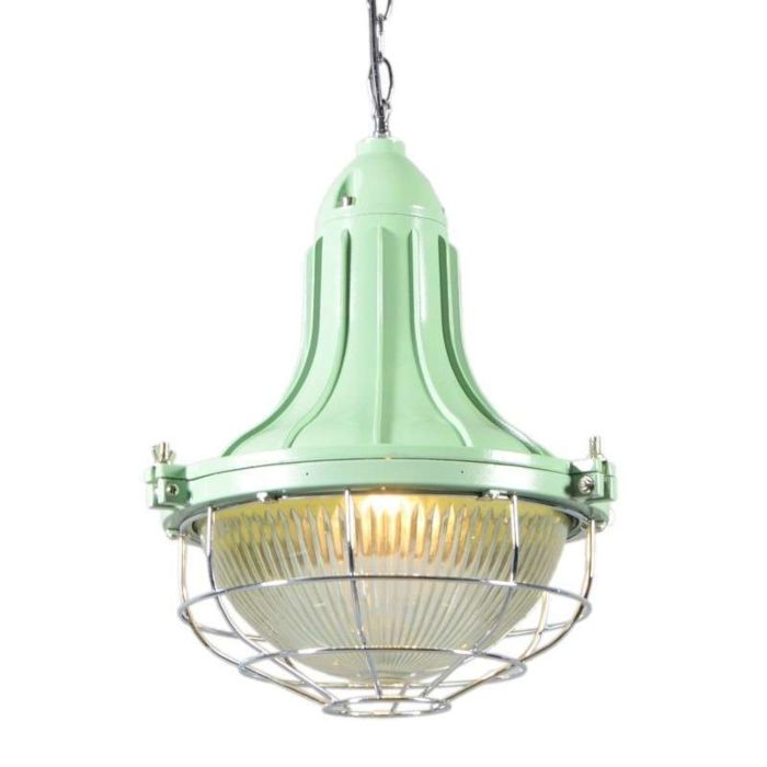 Lampada-a-sospensione-'Stork-II'-retro-verde/alluminio---adatta-per-LED-/-interna