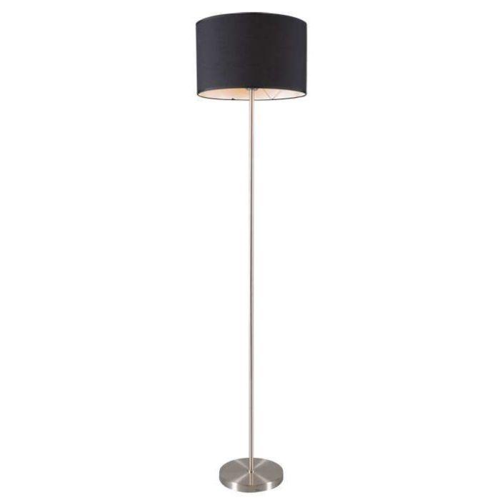 Lampada-da-terra-con-paralume-'Lugar'-moderna-nera/tessuto---adatta-per-LED-/-interna
