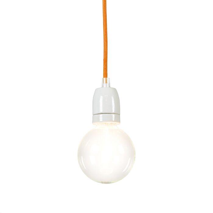 Lampada-a-sospensione-minimalista-'Cavo'-moderna-arancia/tessuto---adatta-per-LED-/-interna
