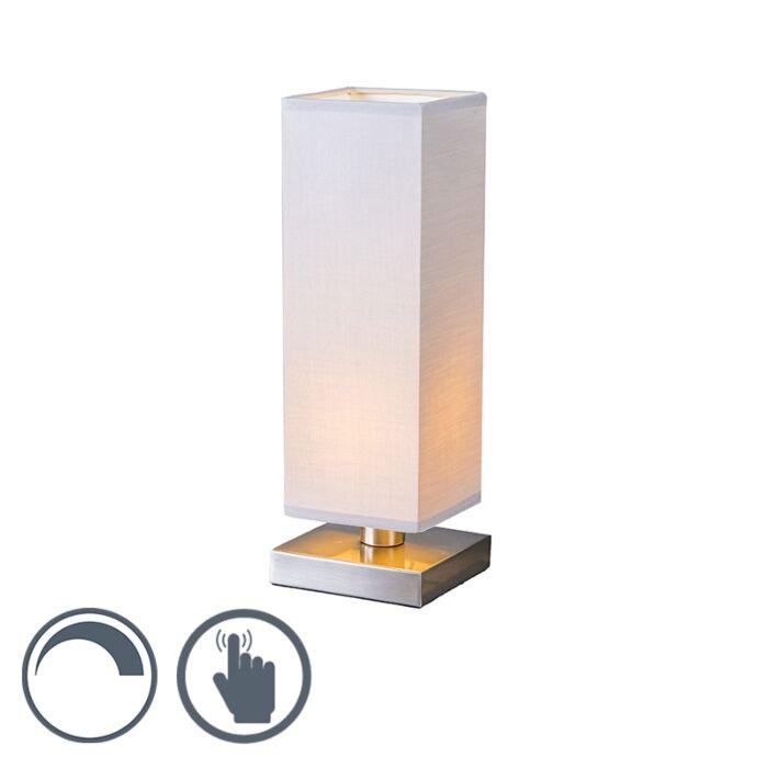 Lampada-da-tavolo-con-regolatore-'Tower-Touch'-moderna-grigia/tessuto-interna