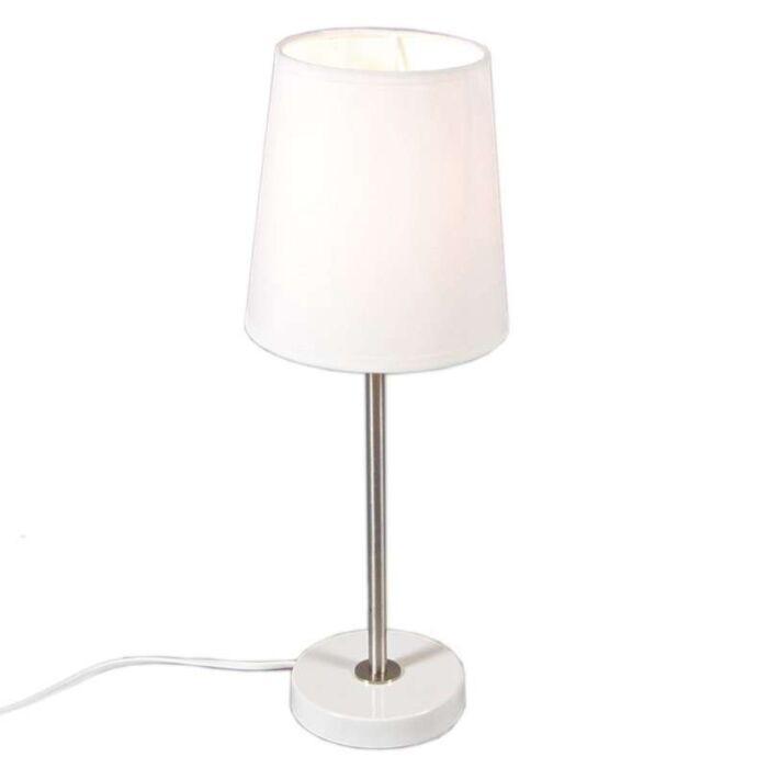 Lampada-da-tavolo-con-paralume-'Notte'-moderna-blanca/tessuto---adatta-per-LED-/-interna