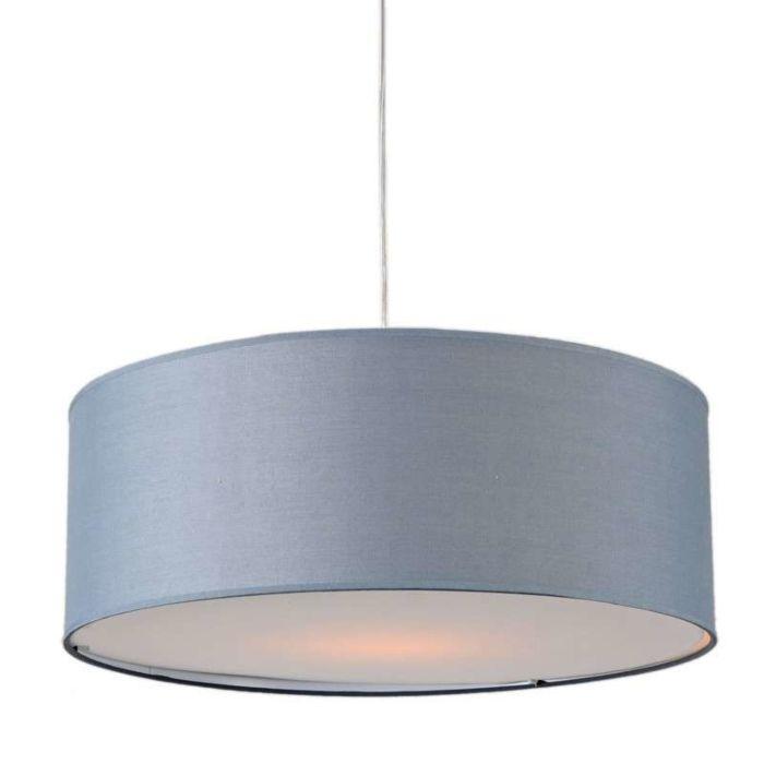 Lampada-a-sospensione-'Tamburo-50'-moderna-grigia/tessuto---adatta-per-LED-/-interna