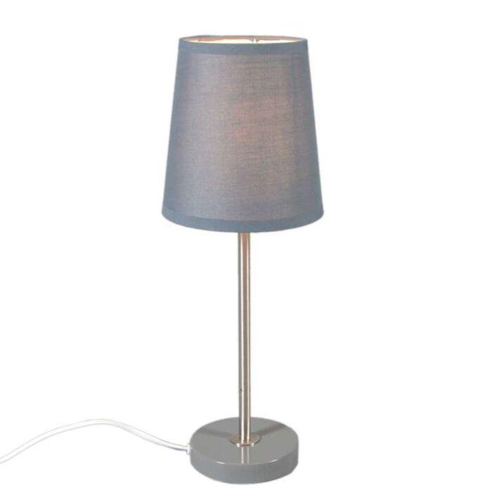 Lampada-da-tavolo-con-paralume-'Notte'-moderna-grigia/tessuto---adatta-per-LED-/-interna