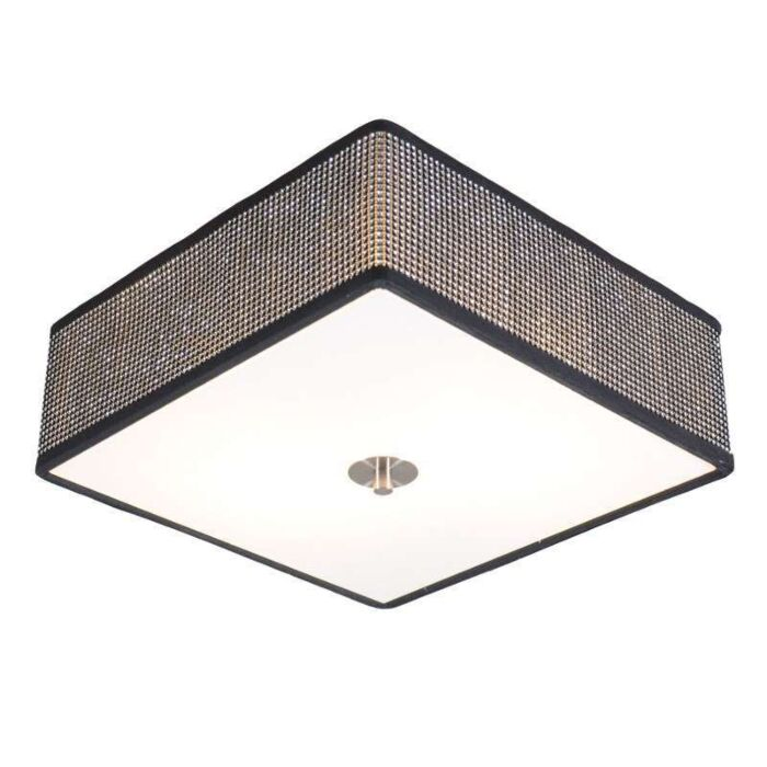 Plafoniera-'Drum-35-Q'-design-nera/cristallo---adatta-per-LED-/-interna