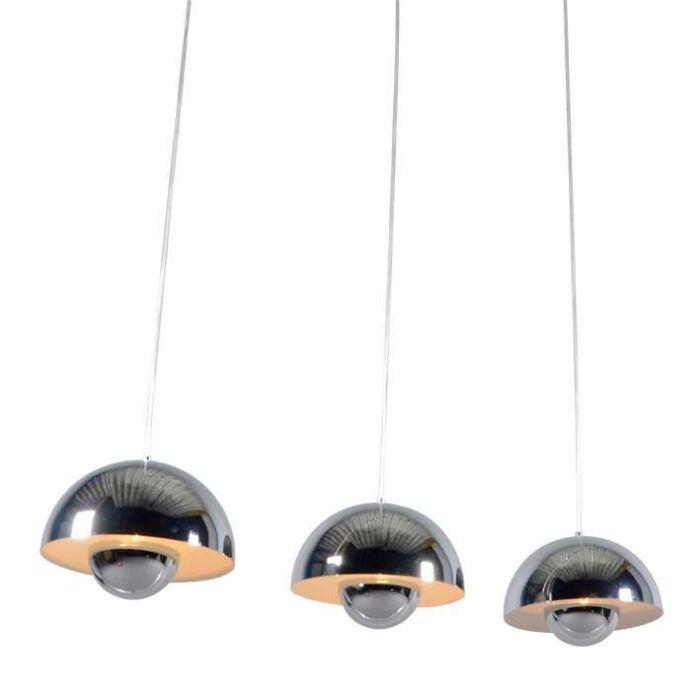 Lampada-a-sospensione-tavolo-soggiorno-'Elx-3'-design-cromo---adatta-per-LED-/-interna
