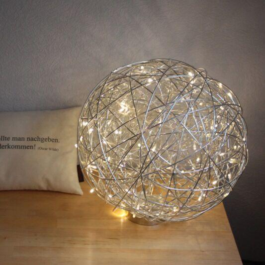 Lampada-da-terra-sfera-'Draht-40'-design-alluminio---include-LED-/-esterna,-interna