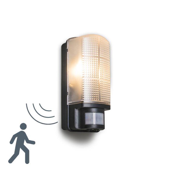 Applique-con-sensore-'Mossa'-moderno-nero/plastica---adatto-per-LED-/-esterno