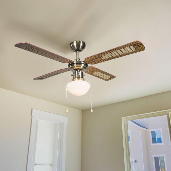 Ventilatore-da-soffitto-industriale-con-lampada-100-cm-in-legno---Vento
