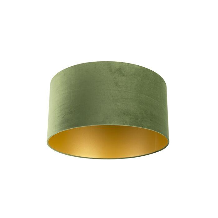 Paralume-in-velluto-verde-50/50/25-con-interno-dorato