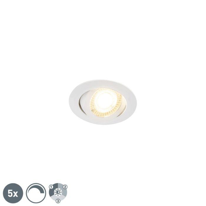 Set-di-5-faretti-da-incasso-bianchi-incl.-LED-dimmerabile-a-3-livelli---Mio
