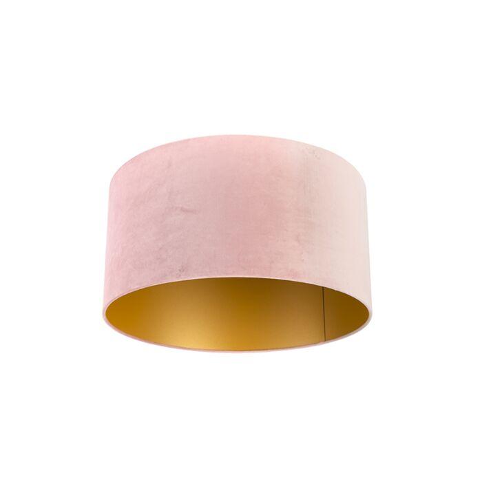 Paralume-in-velluto-rosa-50/50/25-con-interno-dorato