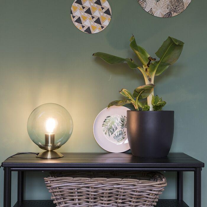 Lampada-da-tavolo-Art-Déco-in-ottone-con-vetro-blu---Pallon