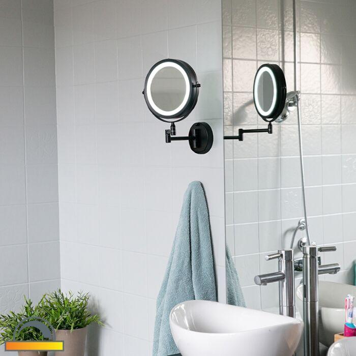 Specchio-bagno-design-nero-con-LED-orientabile-IP44---Vicino