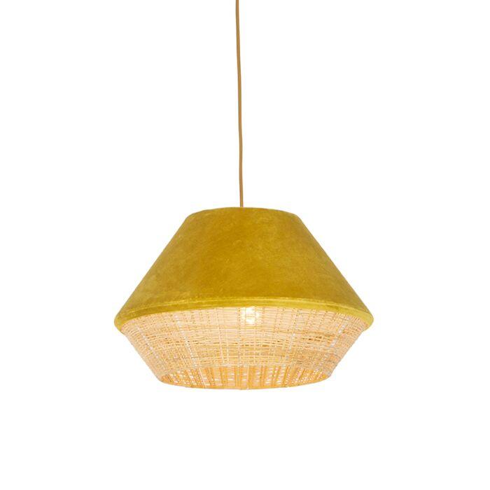 Lampada-a-sospensione-rurale-in-velluto-giallo-con-canna-45-cm---Frills-Can