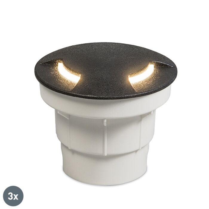 Set-di-3-spot-esterni-da-terra-neri-con-LED-IP67---Ceci-2