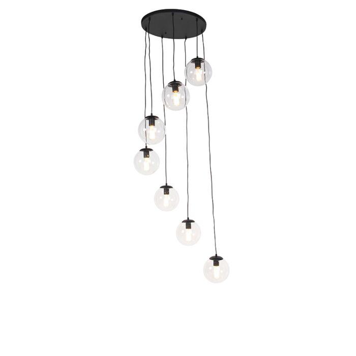 Lampada-a-sospensione-nera-7-luci---PALLON