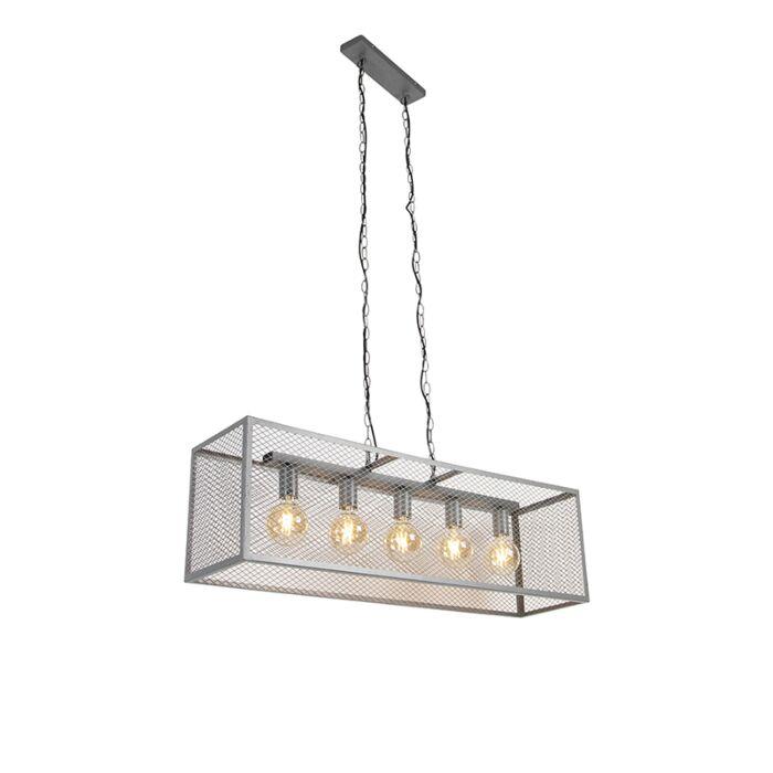 Lampada-a-sospensione-industriale-argento-antico-a-5-luci---Cage-Robusto
