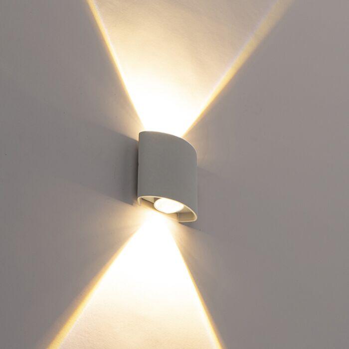 Lampada-da-parete-per-esterno-design-argento-con-LED-a-2-luci---Silly