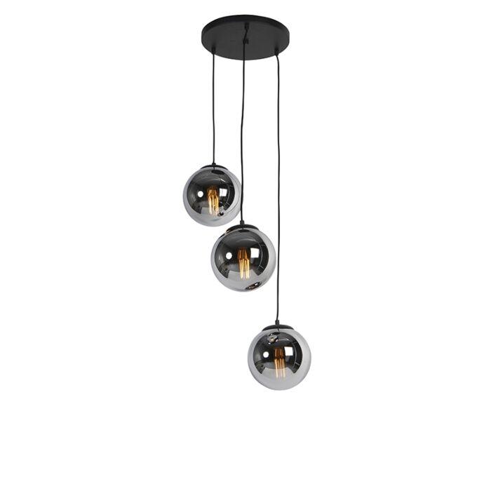 Lampada-a-sospensione-Art-Déco-nera-con-vetro-fumé-a-3-luci---Pallon