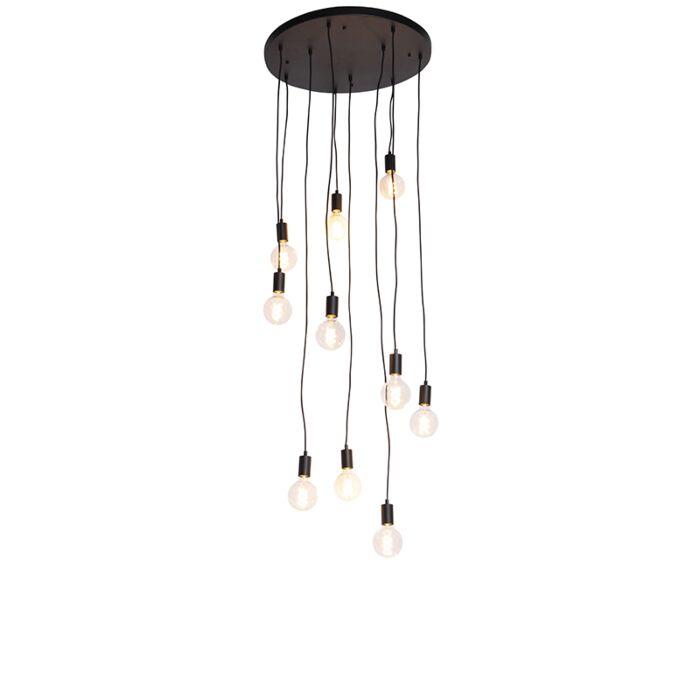 Lampada-a-sospensione-moderna-nera-60-cm-10-luci---Facil