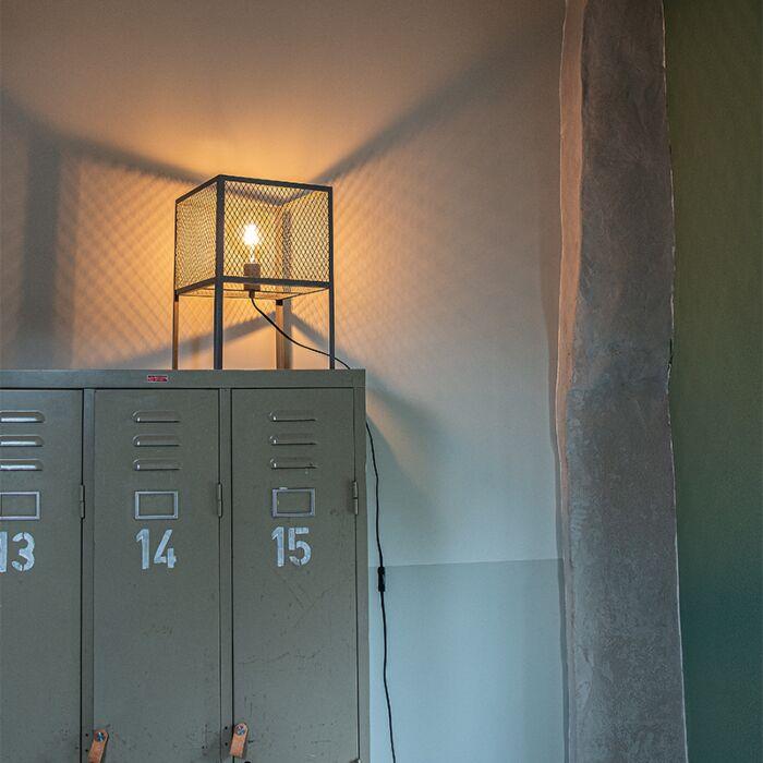 Lampada-da-tavolo-industriale-argento-antico---Gabbia-Robusto