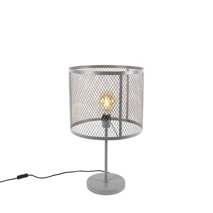 Lampada-da-tavolo-rotonda-industriale-argento-antico---Gabbia-Robusto