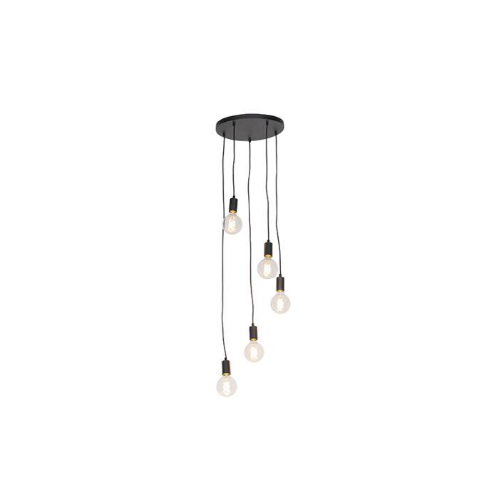 Lampada-a-sospensione-moderna-nera-35-cm-5-luci---Facil