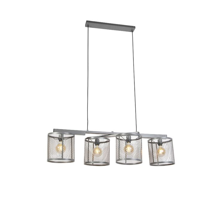 Lampada-a-sospensione-industriale-argento-antico-a-4-luci---Cage-Robusto